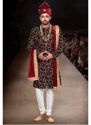 Art Silk Maroon Embroidered Indo Western