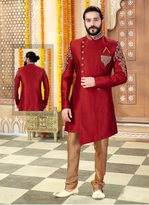 Art Silk Maroon Indo Western