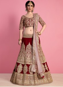 Art Silk Maroon Resham Work Lehenga Choli