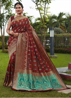 Art Silk Maroon Traditional Designer Saree