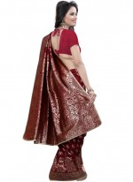 Art Silk Maroon Traditional  Saree