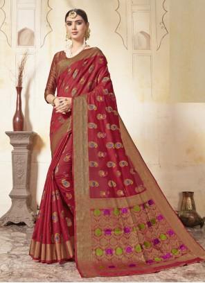 Art Silk Maroon Weaving Saree
