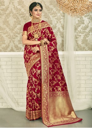 Art Silk Maroon Weaving Silk Saree