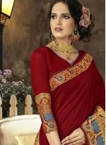 Art Silk Maroon woven Work Traditional  Saree