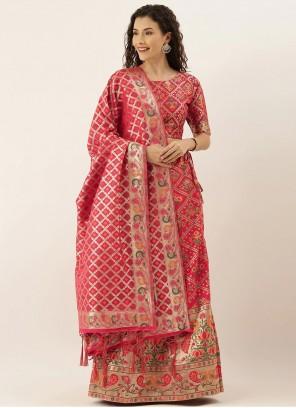Hot Pink Art Silk Mehndi Lehenga Choli