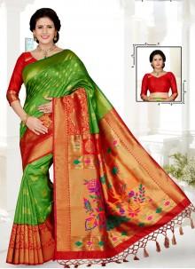 Art Silk Mehndi Traditional Saree