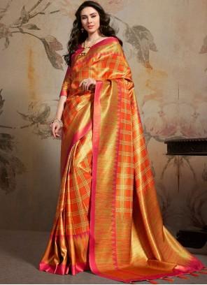 Art Silk Multi Colour Abstract Print Saree