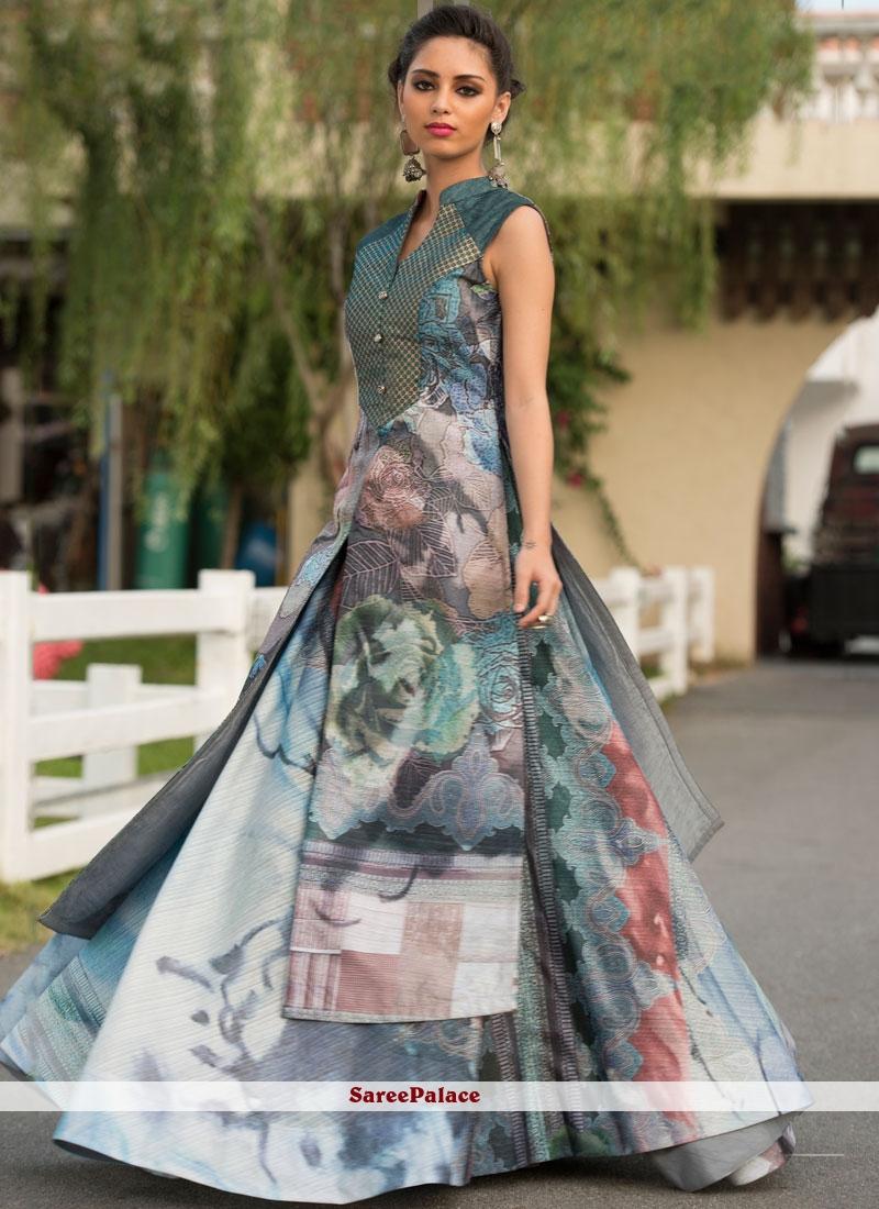 972260691b4c Buy Art Silk Multi Colour Digital Print Designer Gown Online