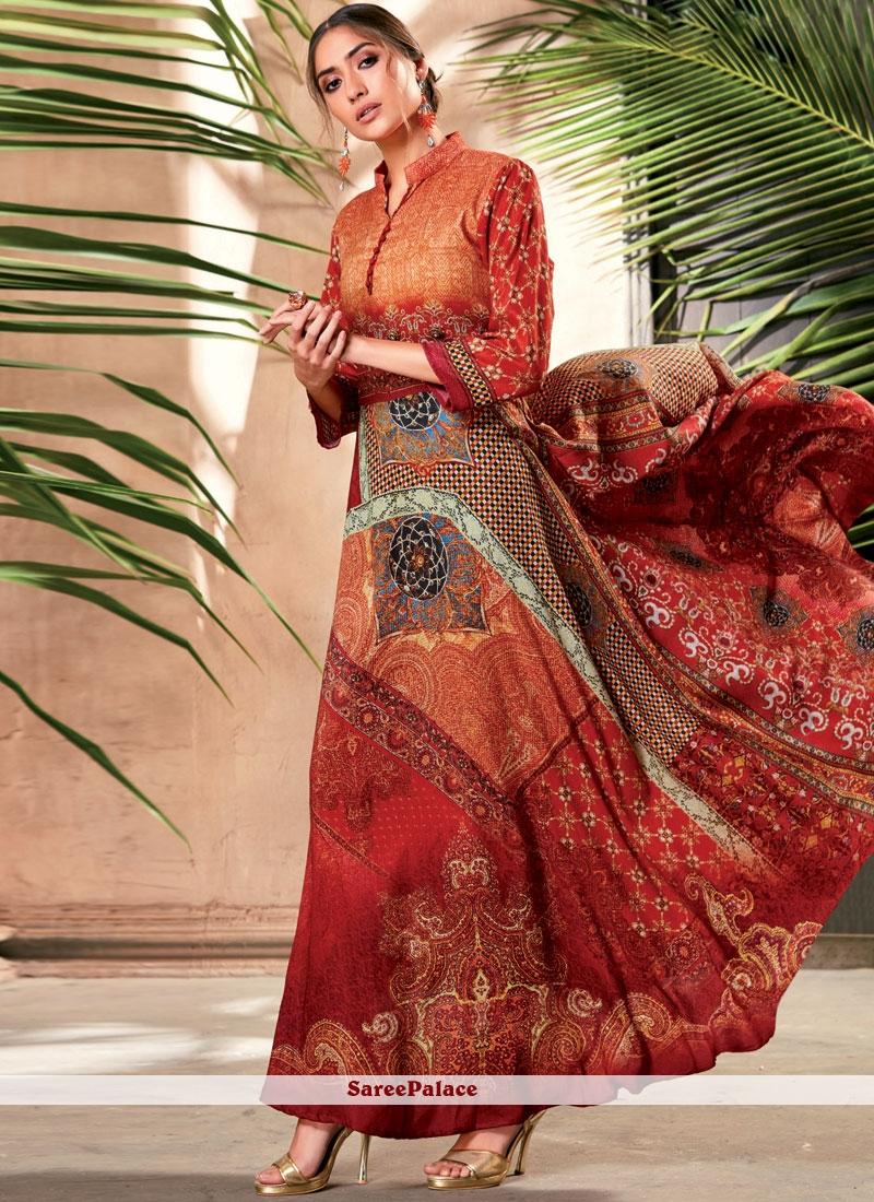 Art Silk Multi Colour Party Wear Kurti