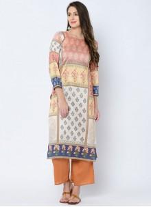 Art Silk Multi Colour Printed Casual Kurti