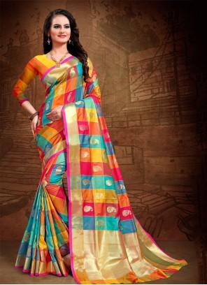 Art Silk Multi Colour Woven Designer Saree