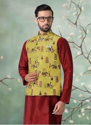 Art Silk Mustard Nehru Jackets