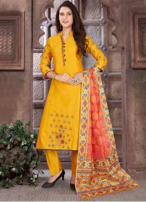 Art Silk Mustard Readymade Suit