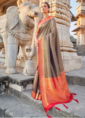 Art Silk Navy Blue and Red Weaving Designer Traditional Saree