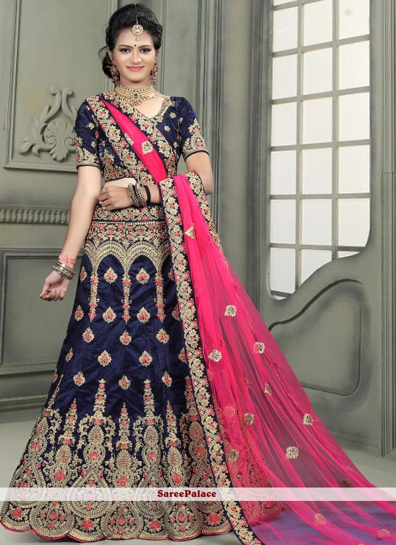 3b5fe9f0e1 Buy Art Silk Navy Blue Embroidered Work Designer Lehenga Choli Online