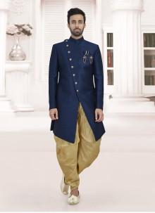 Art Silk Navy Blue Indo Western