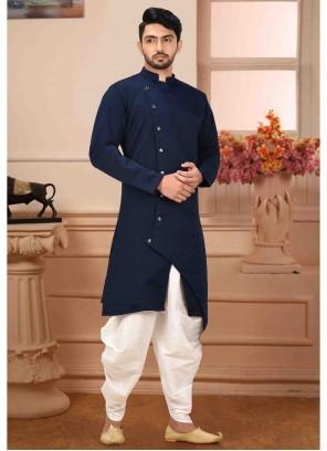 Art Silk Navy Blue Kurta Pyjama