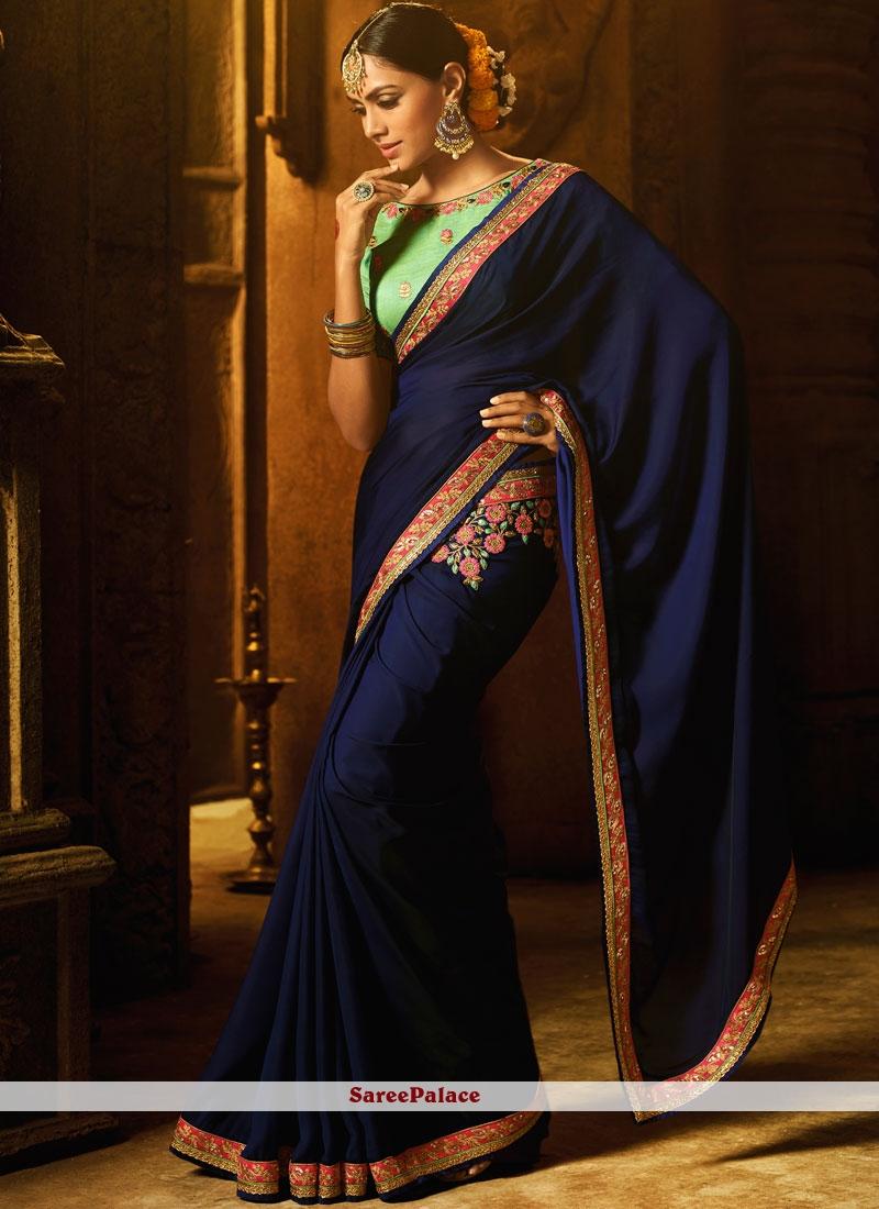 Art Silk Navy Blue Patch Border Work Traditional Designer Saree