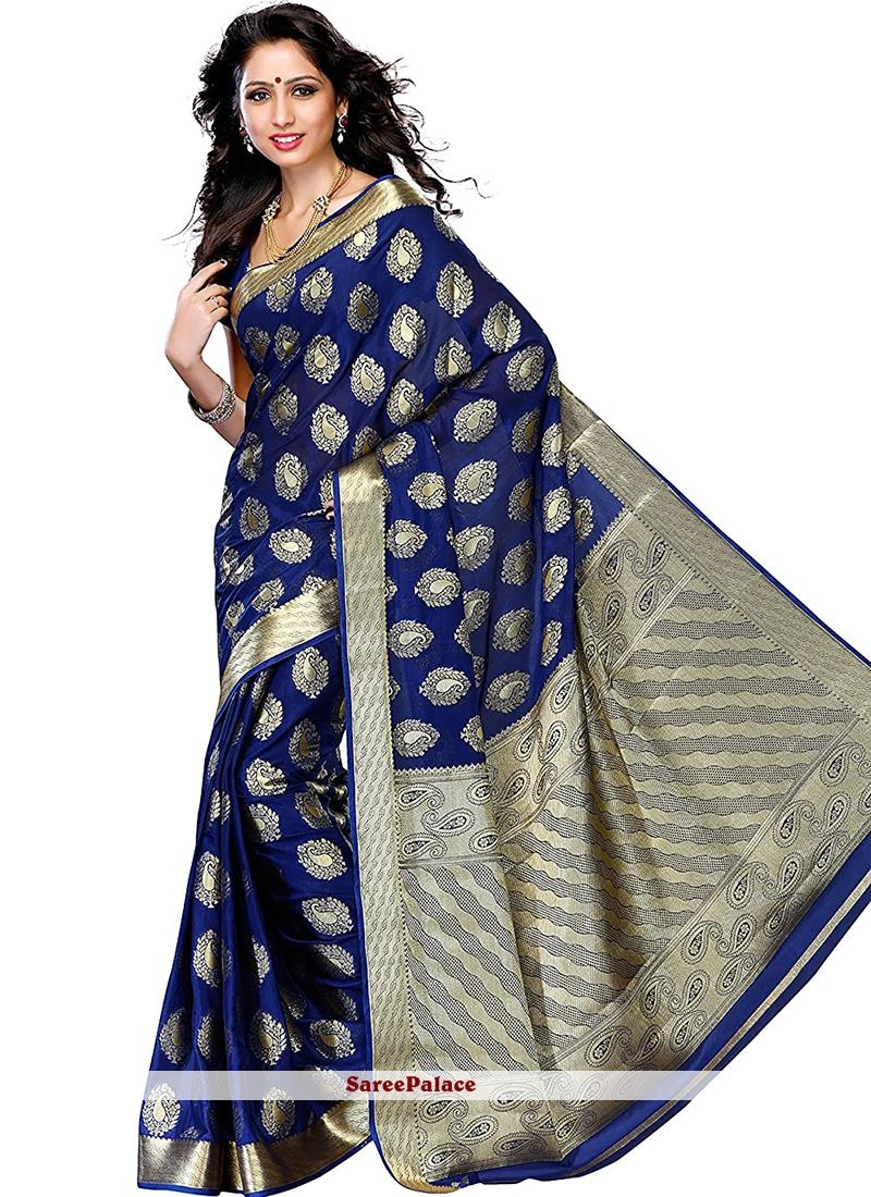 Art Silk Navy Blue Printed Designer Traditional Saree