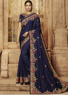Art Silk Navy Blue Resham Classic Saree