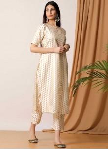 Art Silk Off White Designer Kurti