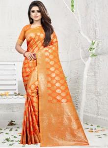 Art Silk Orange Classic Saree