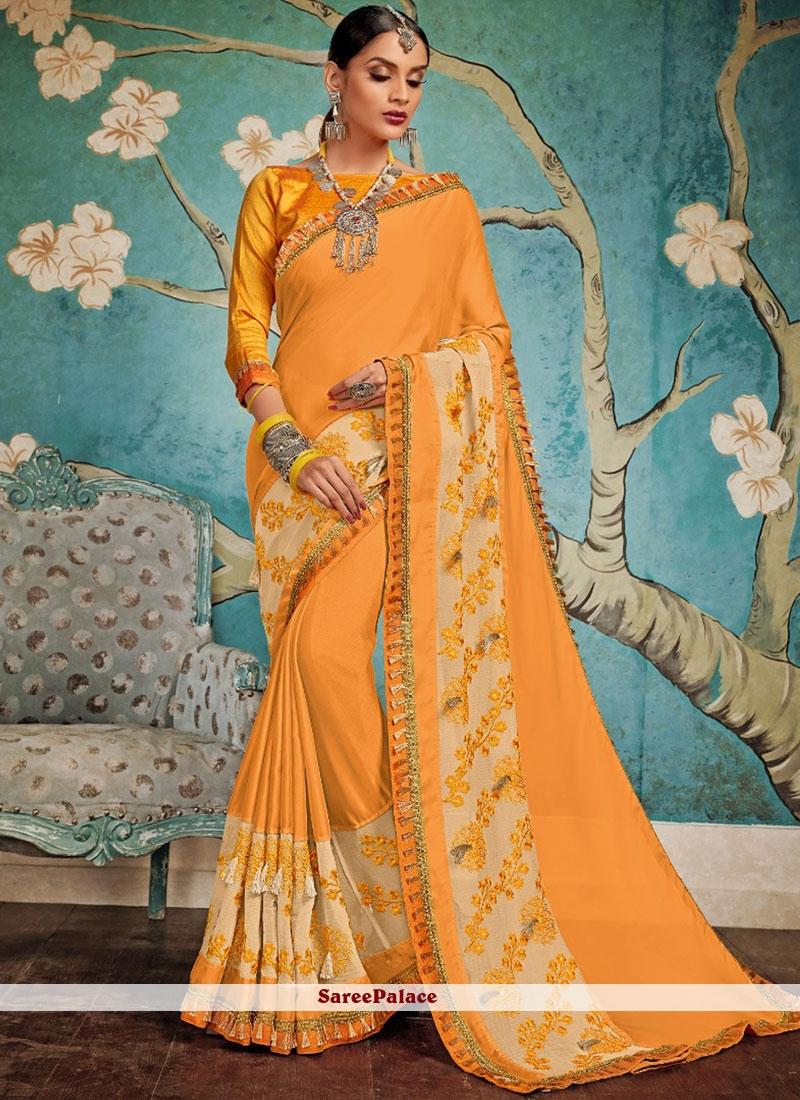 Art Silk Orange Embroidered Traditional Designer Saree