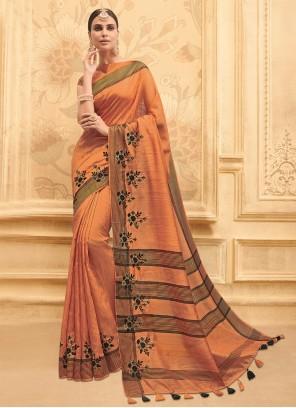 Art Silk Orange Embroidered Traditional Saree