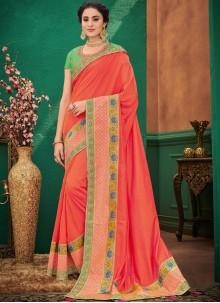 Art Silk Orange Patch Border Designer Traditional Saree
