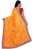 Art Silk Orange Patch Border Work Designer Traditional Saree