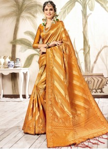Art Silk Orange Traditional Saree