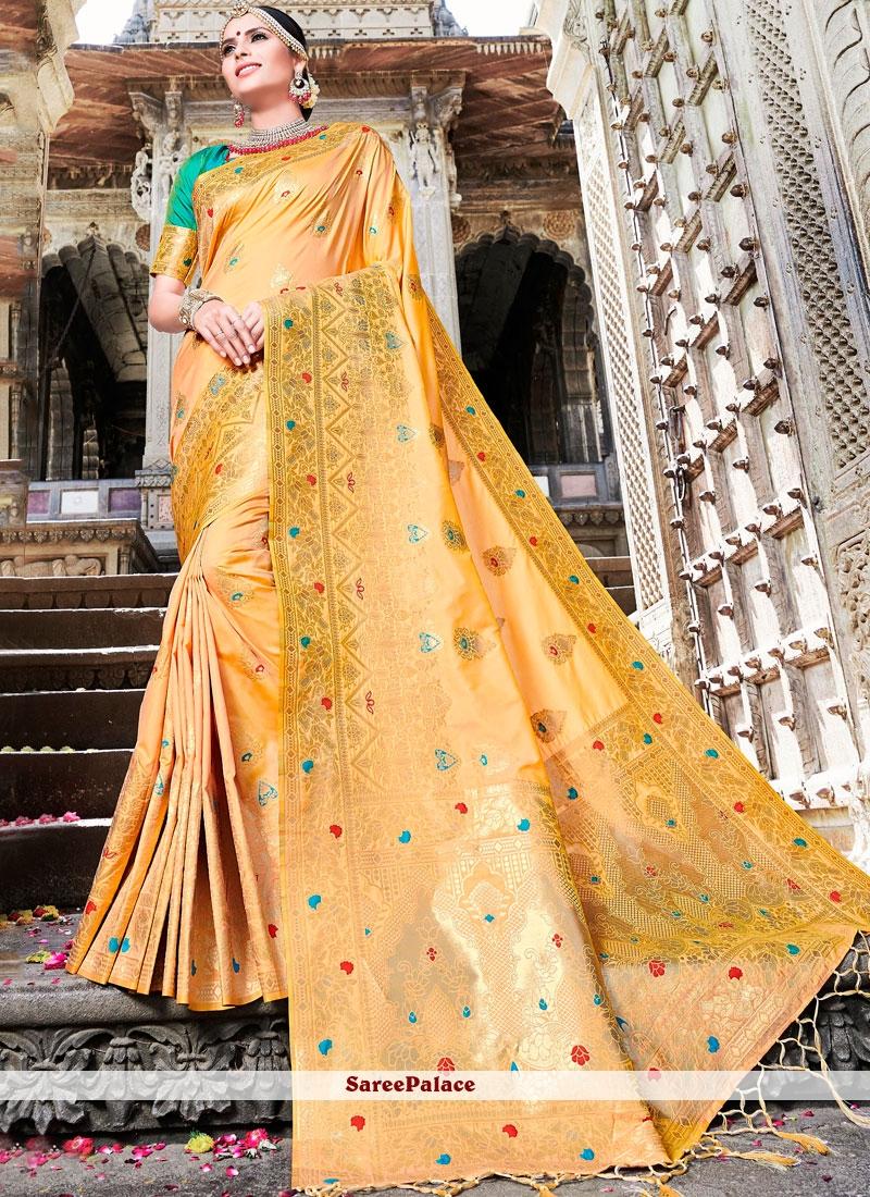 Art Silk Orange Weaving Traditional Designer Saree