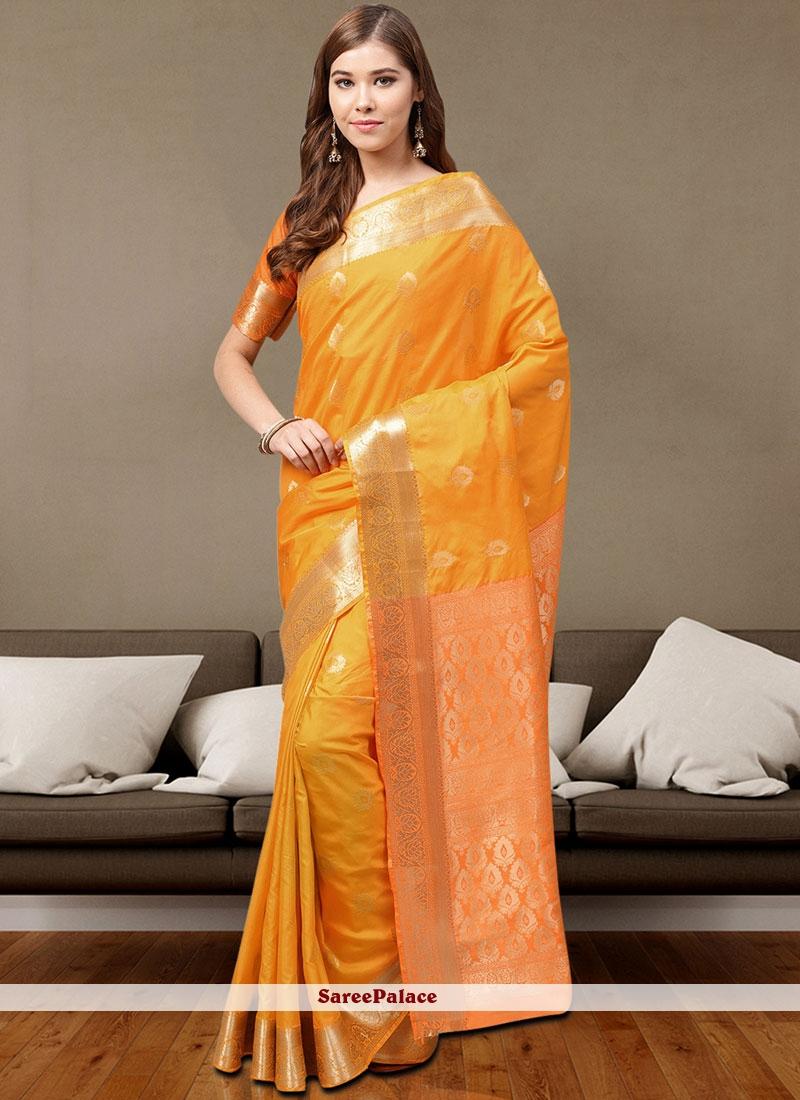 Art Silk Orange Weaving Traditional Saree