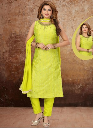 Art Silk Pant Style Suit in Green