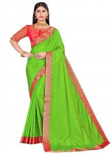 Art Silk Patch Border Green Designer Traditional Saree