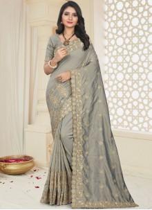 Art Silk Patch Border Grey Designer Traditional Saree