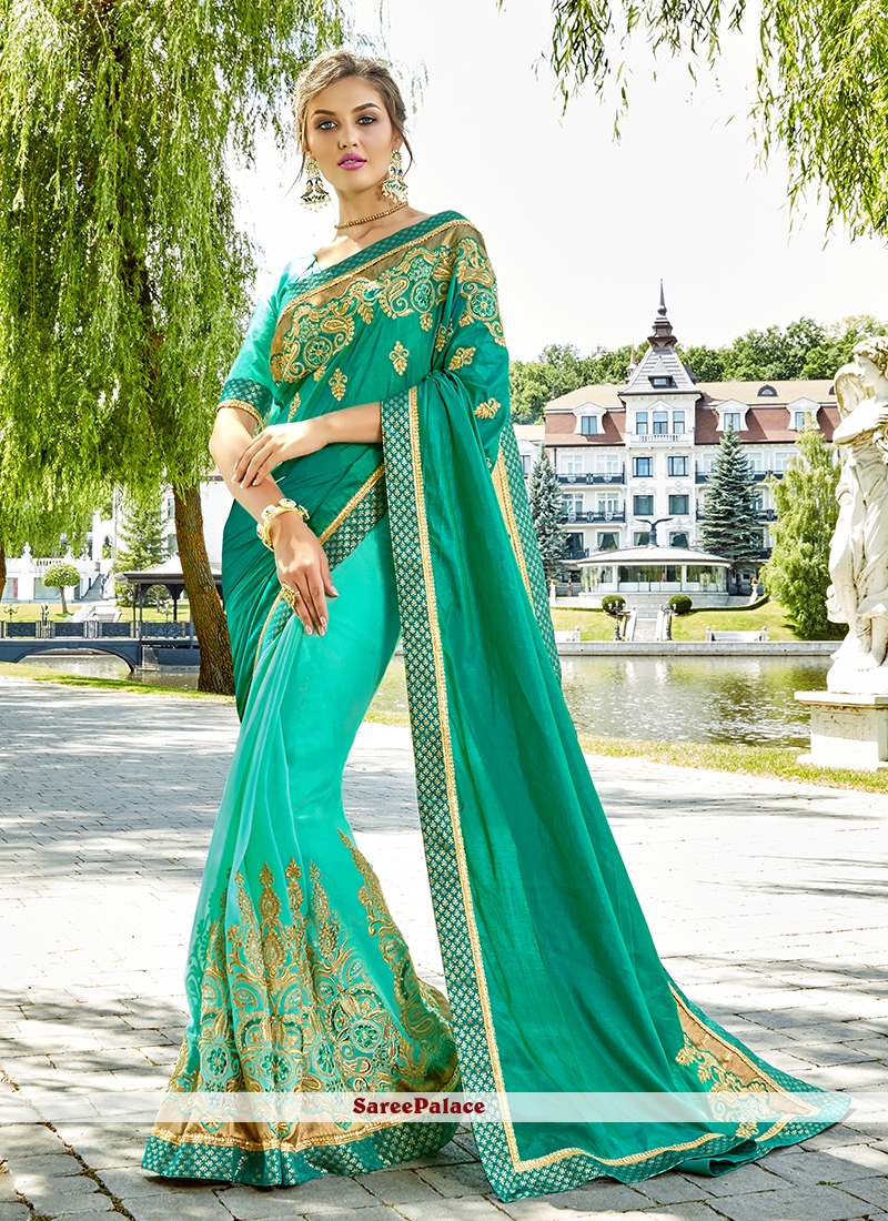 Art Silk Patch Border Half N Half Designer Saree in Aqua Blue and Sea Green