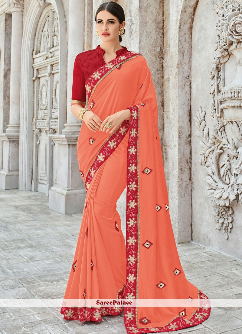Art Silk Patch Border Orange Designer Traditional Saree