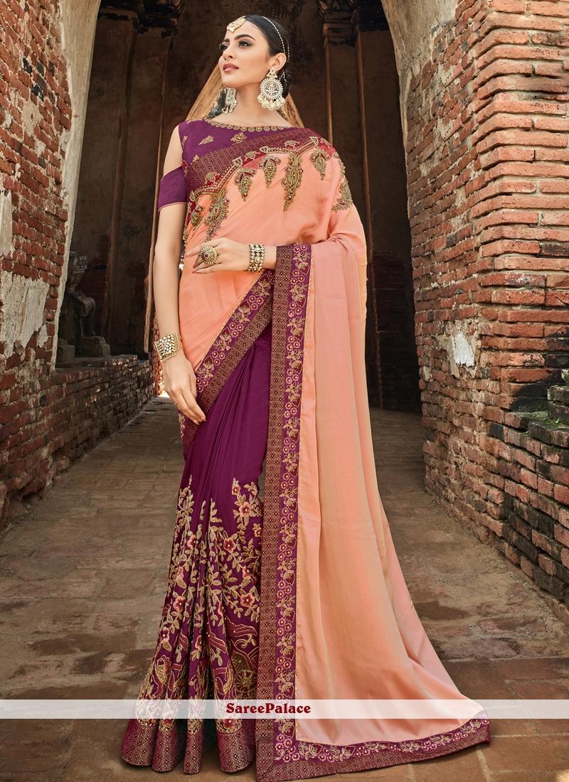 Art Silk Patch Border Peach and Purple Designer Half N Half Saree