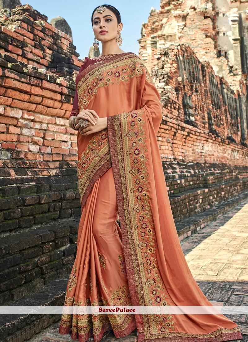 Art Silk Patch Border Peach Designer Traditional Saree