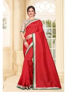 Art Silk Patch Border Red Trendy Saree