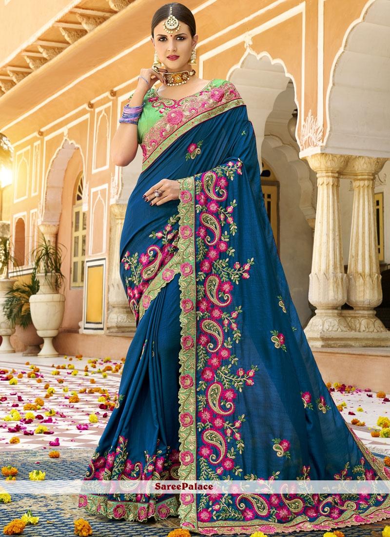 Blue Art Silk Patch Border Traditional Saree