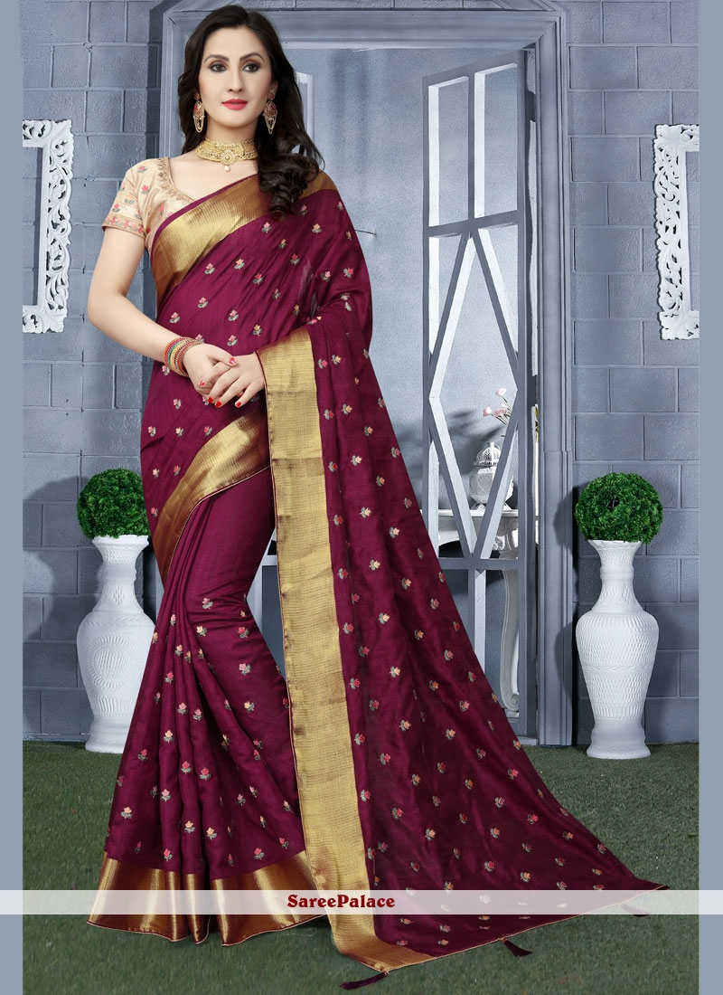 Purple Art Silk Patch Border Traditional Designer Saree