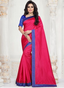 Art Silk Patch Border Traditional Saree in Hot Pink