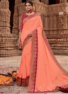 Art Silk Peach Border Designer Traditional Saree