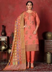 Art Silk Peach Churidar Designer Suit