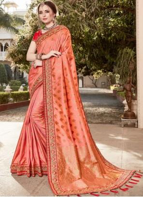 Art Silk Peach Classic Designer Saree