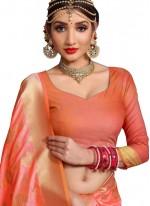 Art Silk Peach Designer Traditional Saree