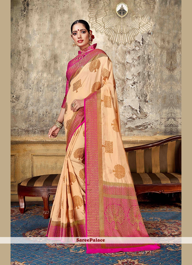 Art Silk Peach Designer Traditional Saree