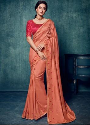 Art Silk Peach Embroidered Traditional Designer Saree
